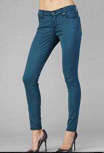 Teal colored denim jeans
