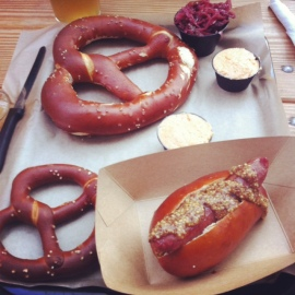 Pretzels and sausages at Easy Tiger