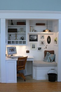Office in a closet from pinterest