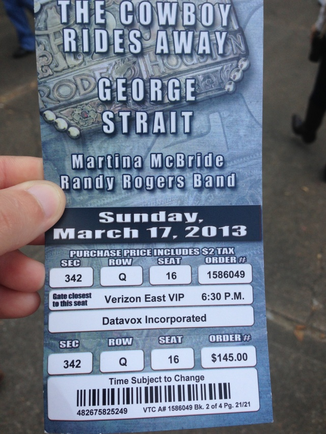 George Straight Rodeo Ticket