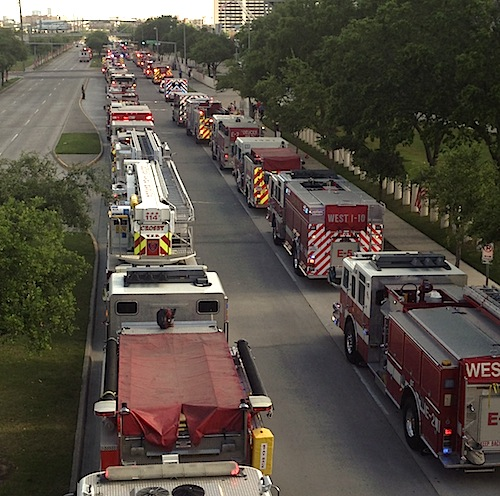 Firetrucks at Houston Memorial service
